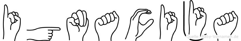 Ignacija im Fingeralphabet der Deutschen Gebärdensprache