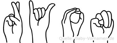 Ryon im Fingeralphabet der Deutschen Gebärdensprache