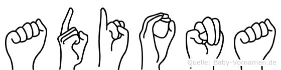 Adiona im Fingeralphabet der Deutschen Gebärdensprache
