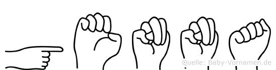 Genna im Fingeralphabet der Deutschen Gebärdensprache