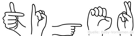 Tiger im Fingeralphabet der Deutschen Gebärdensprache