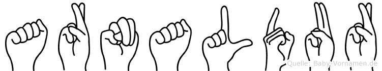 Arnaldur im Fingeralphabet der Deutschen Gebärdensprache