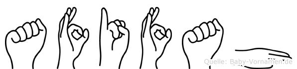 Afifah im Fingeralphabet der Deutschen Gebärdensprache