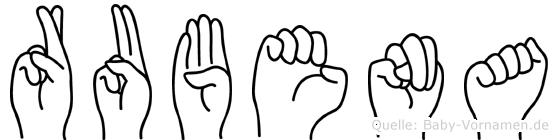 Rubena im Fingeralphabet der Deutschen Gebärdensprache