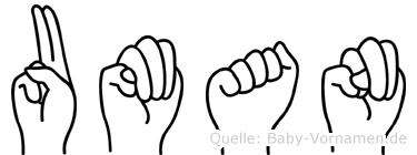 Uman in Fingersprache für Gehörlose