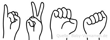 Ivea im Fingeralphabet der Deutschen Gebärdensprache