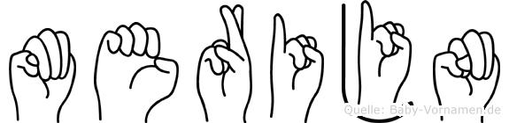 Merijn im Fingeralphabet der Deutschen Gebärdensprache