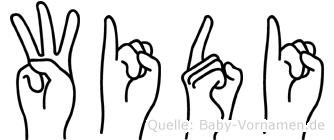 Widi im Fingeralphabet der Deutschen Gebärdensprache