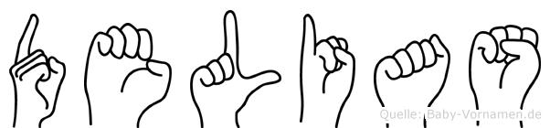 Delias im Fingeralphabet der Deutschen Gebärdensprache