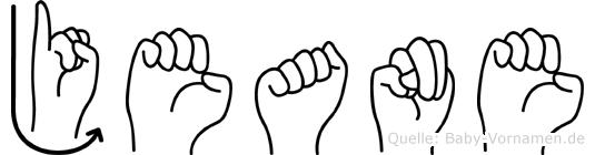 Jeane im Fingeralphabet der Deutschen Gebärdensprache