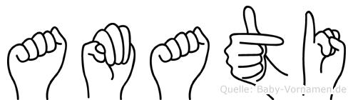 Amati im Fingeralphabet der Deutschen Gebärdensprache