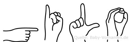 Gilo im Fingeralphabet der Deutschen Gebärdensprache