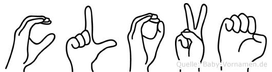 Clove im Fingeralphabet der Deutschen Gebärdensprache