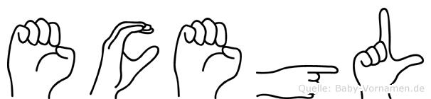 Ecegül im Fingeralphabet der Deutschen Gebärdensprache