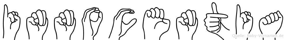 Innocentia im Fingeralphabet der Deutschen Gebärdensprache