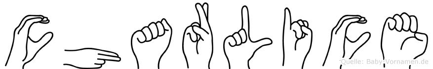 Charlice im Fingeralphabet der Deutschen Gebärdensprache
