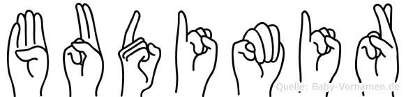 Budimir im Fingeralphabet der Deutschen Gebärdensprache