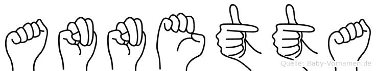 Annetta im Fingeralphabet der Deutschen Gebärdensprache