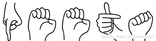 Peeta im Fingeralphabet der Deutschen Gebärdensprache