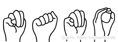Namo im Fingeralphabet der Deutschen Gebärdensprache