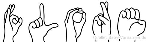 Flore im Fingeralphabet der Deutschen Gebärdensprache