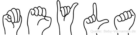 Meyla im Fingeralphabet der Deutschen Gebärdensprache