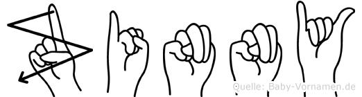 Zinny im Fingeralphabet der Deutschen Gebärdensprache
