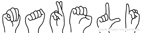 Mareli im Fingeralphabet der Deutschen Gebärdensprache