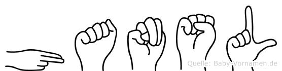 Hansl im Fingeralphabet der Deutschen Gebärdensprache