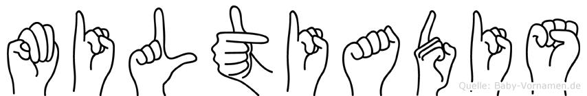 Miltiadis im Fingeralphabet der Deutschen Gebärdensprache