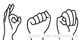 Fam im Fingeralphabet der Deutschen Gebärdensprache