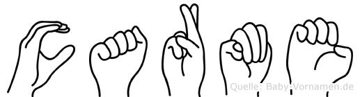 Carme im Fingeralphabet der Deutschen Gebärdensprache