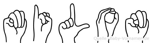 Milon im Fingeralphabet der Deutschen Gebärdensprache