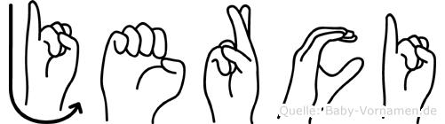 Jerci im Fingeralphabet der Deutschen Gebärdensprache