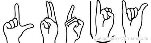 Ludjy im Fingeralphabet der Deutschen Gebärdensprache