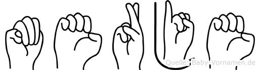 Merje im Fingeralphabet der Deutschen Gebärdensprache