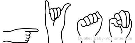Gyan im Fingeralphabet der Deutschen Gebärdensprache