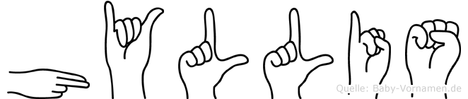 Hyllis im Fingeralphabet der Deutschen Gebärdensprache
