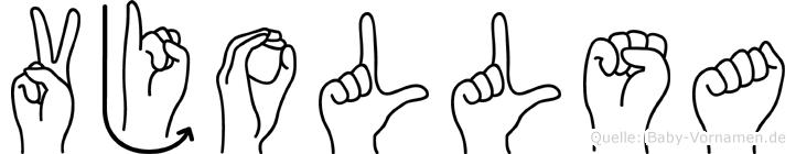 Vjollsa im Fingeralphabet der Deutschen Gebärdensprache