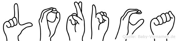 Lorica im Fingeralphabet der Deutschen Gebärdensprache
