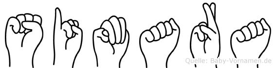 Simara im Fingeralphabet der Deutschen Gebärdensprache