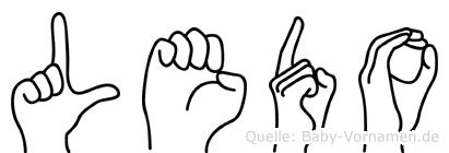Ledo im Fingeralphabet der Deutschen Gebärdensprache