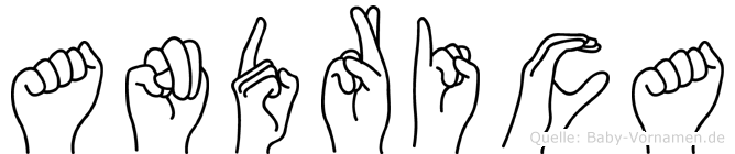 Andrica im Fingeralphabet der Deutschen Gebärdensprache