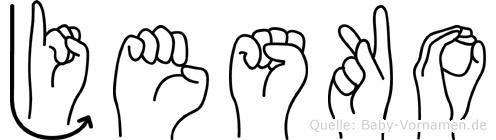 Jesko in Fingersprache für Gehörlose