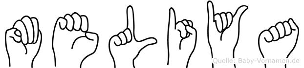 Meliya im Fingeralphabet der Deutschen Gebärdensprache