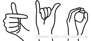 Tyo in Fingersprache für Gehörlose
