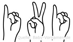 Ivi im Fingeralphabet der Deutschen Gebärdensprache