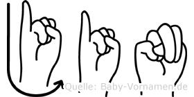 Jin im Fingeralphabet der Deutschen Gebärdensprache