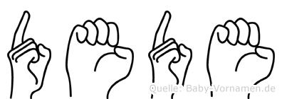 Dede im Fingeralphabet der Deutschen Gebärdensprache
