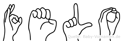 Felo im Fingeralphabet der Deutschen Gebärdensprache